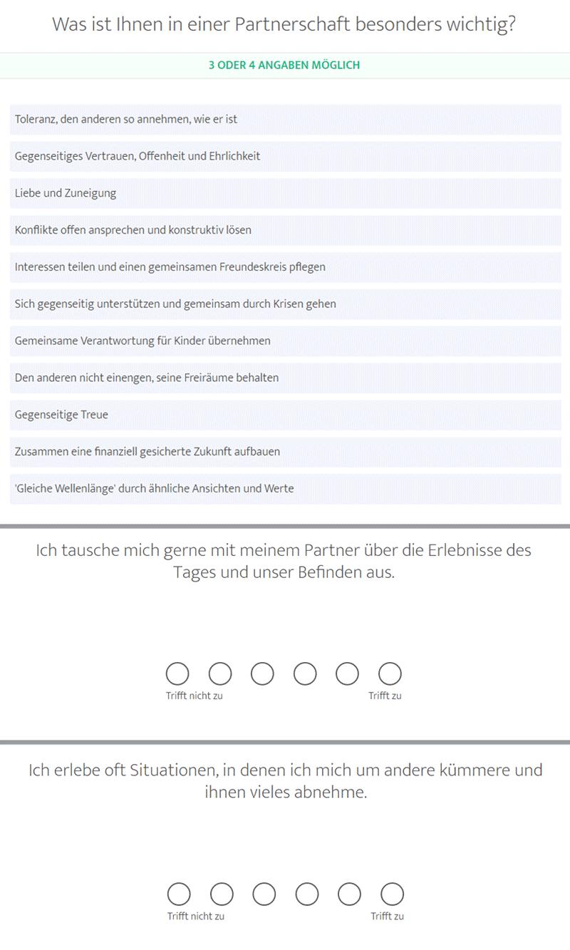 Testfragen aus dem Persönlichkeitsfragebogen