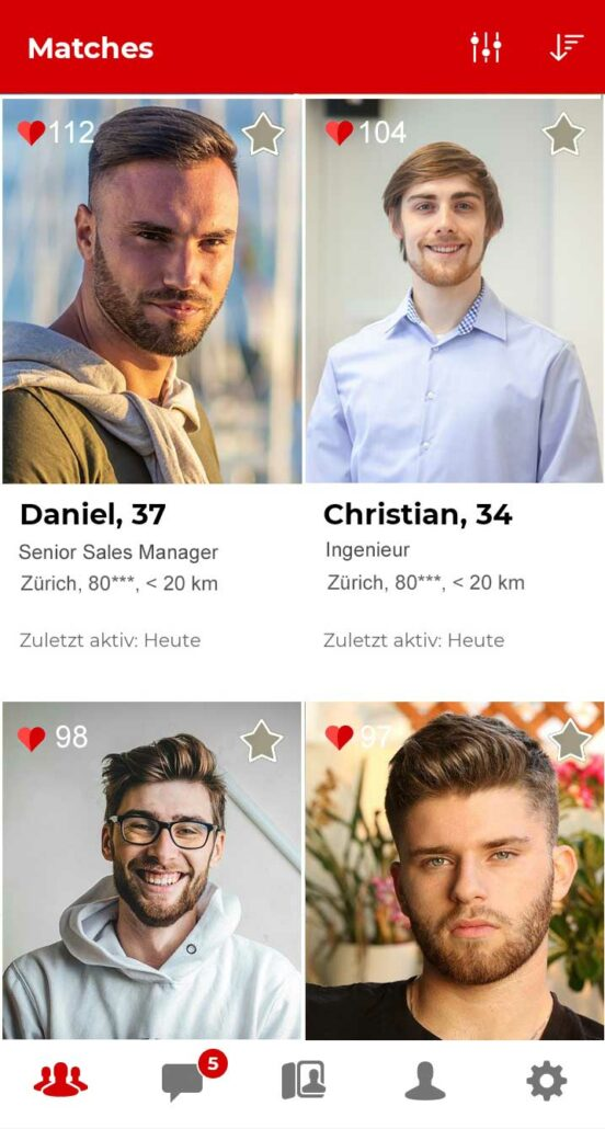 Parship App Matches in Zürich