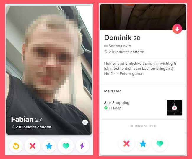 Swipen und Profilinfos auf Tinder